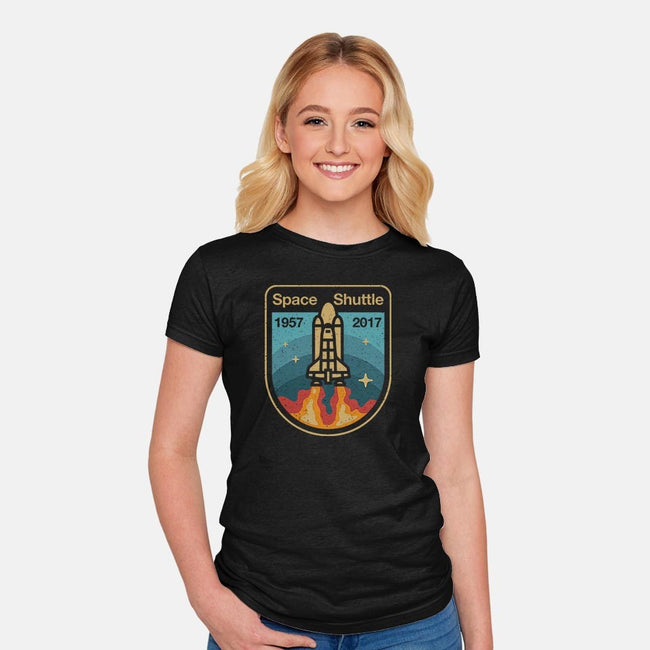 Retro Space Shuttle-womens fitted tee-vomaria