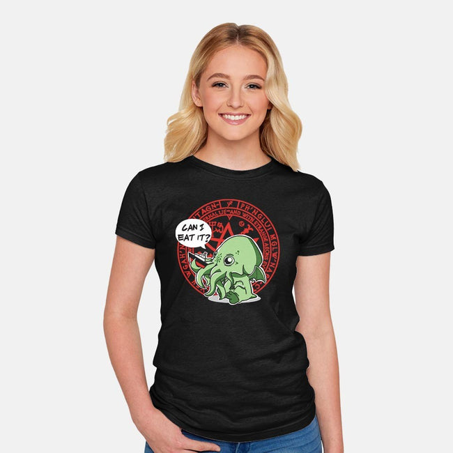 Little Cthulhu Is Hungry-womens fitted tee-TaylorRoss1