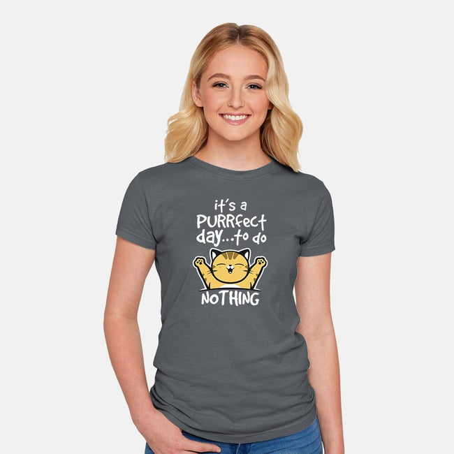 Purrfect Day-womens fitted tee-NemiMakeit