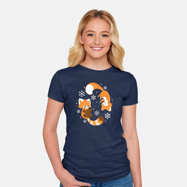 Cute Creature Winter-womens fitted tee-ChocolateRaisinFury