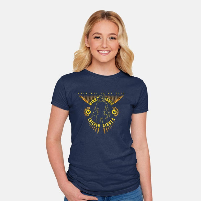 Chicken Dinner-womens fitted tee-bomdesignz