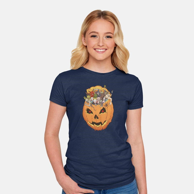 Halloween Monsters-womens fitted tee-Moutchy