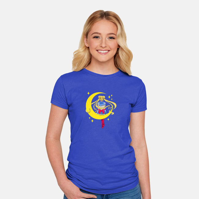 Sitter Moon-womens fitted tee-ClayGrahamArt