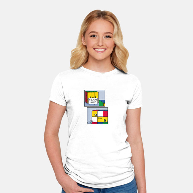 Perfect Cube!-womens fitted tee-Raffiti