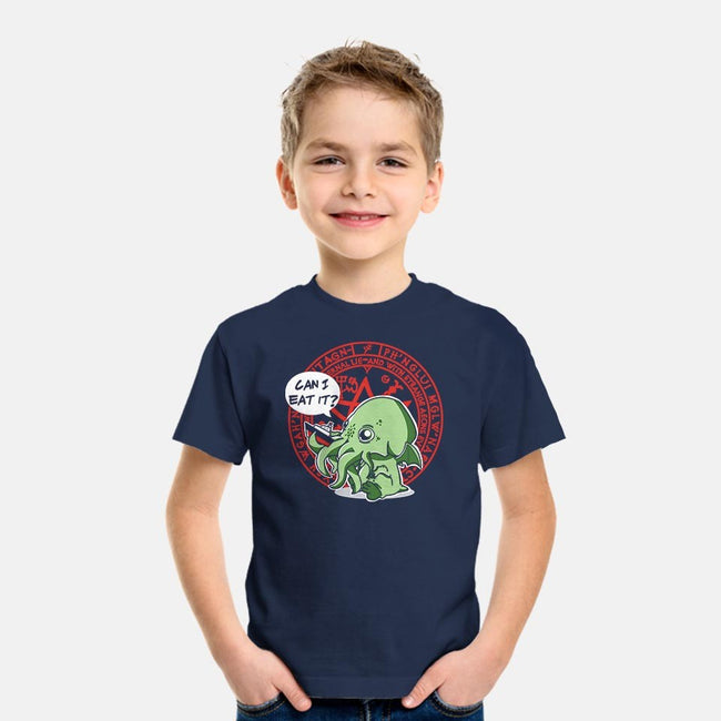 Little Cthulhu Is Hungry-youth basic tee-TaylorRoss1
