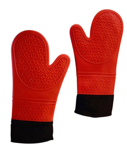 Red Oven Mitts for Kitchen and Grill, Heat Resistant Extra Long Easy to Clean-And He Cooks