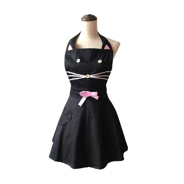 Cute Black Cat Kitchen Apron-And He Cooks
