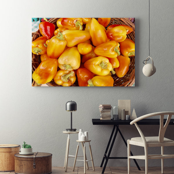 Canvas Wall Art Yellow Peppers Kitchen Art 4 Sizes To Chose From-And He Cooks