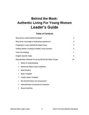 Behind the Mask Leader's Guide