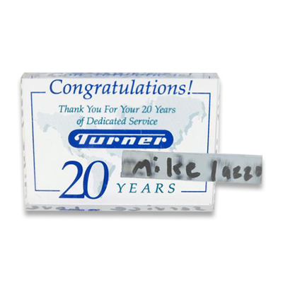Mike Lazzo's 20 Year Commemorative Acrylic Plaque