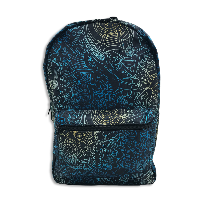 Rick & Morty Backpack Blue Doodles