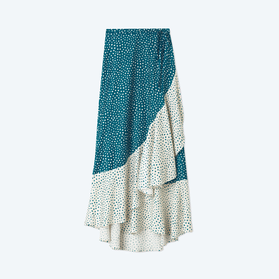 The Beach to Brunch Wrap Skirt - On the Dot in Seaweed