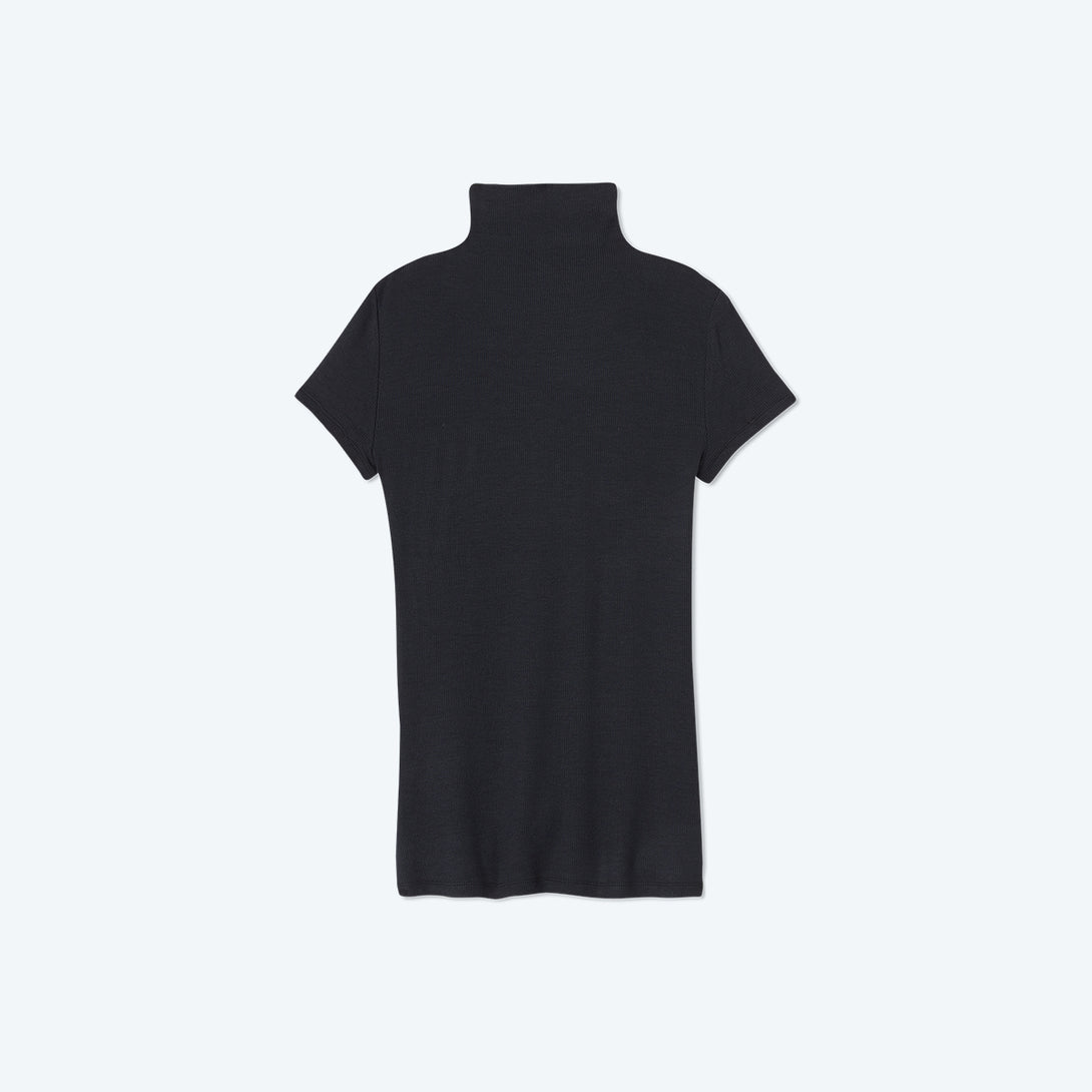 The Softest Ribbed Mock Neck T-Shirt - Sea Urchin