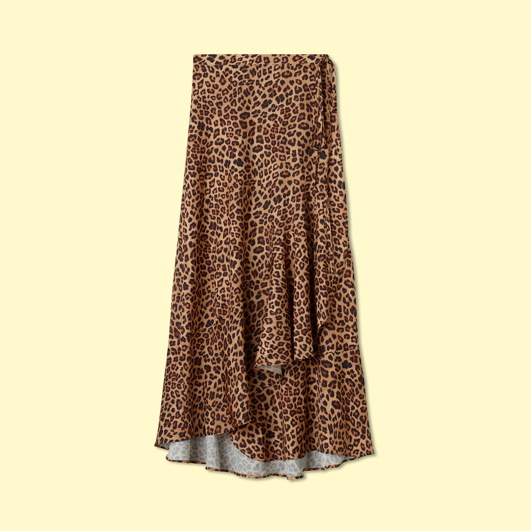 The Beach to Brunch Wrap Skirt - Leopard
