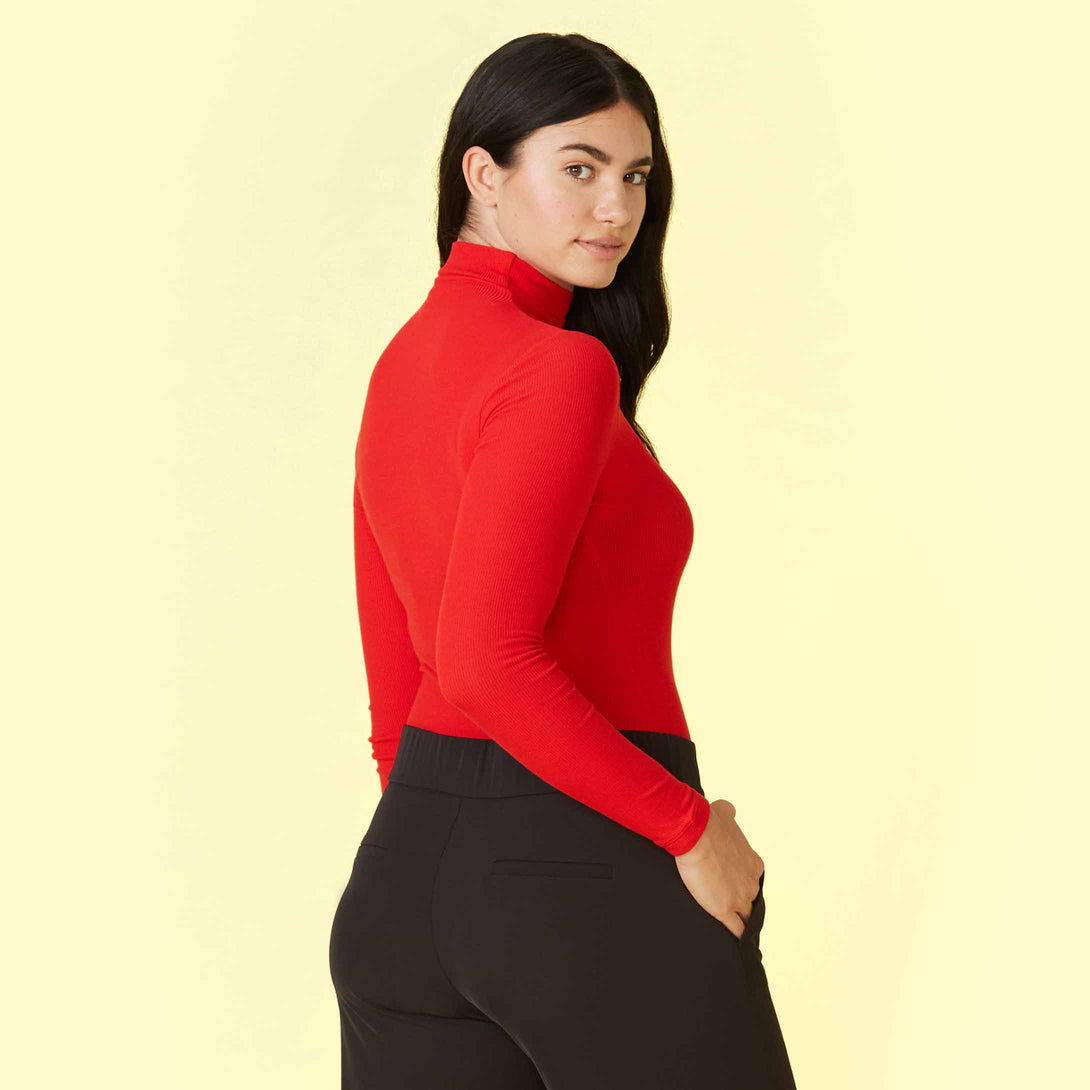 The Day to Night Long Sleeve Bodysuit - Lava