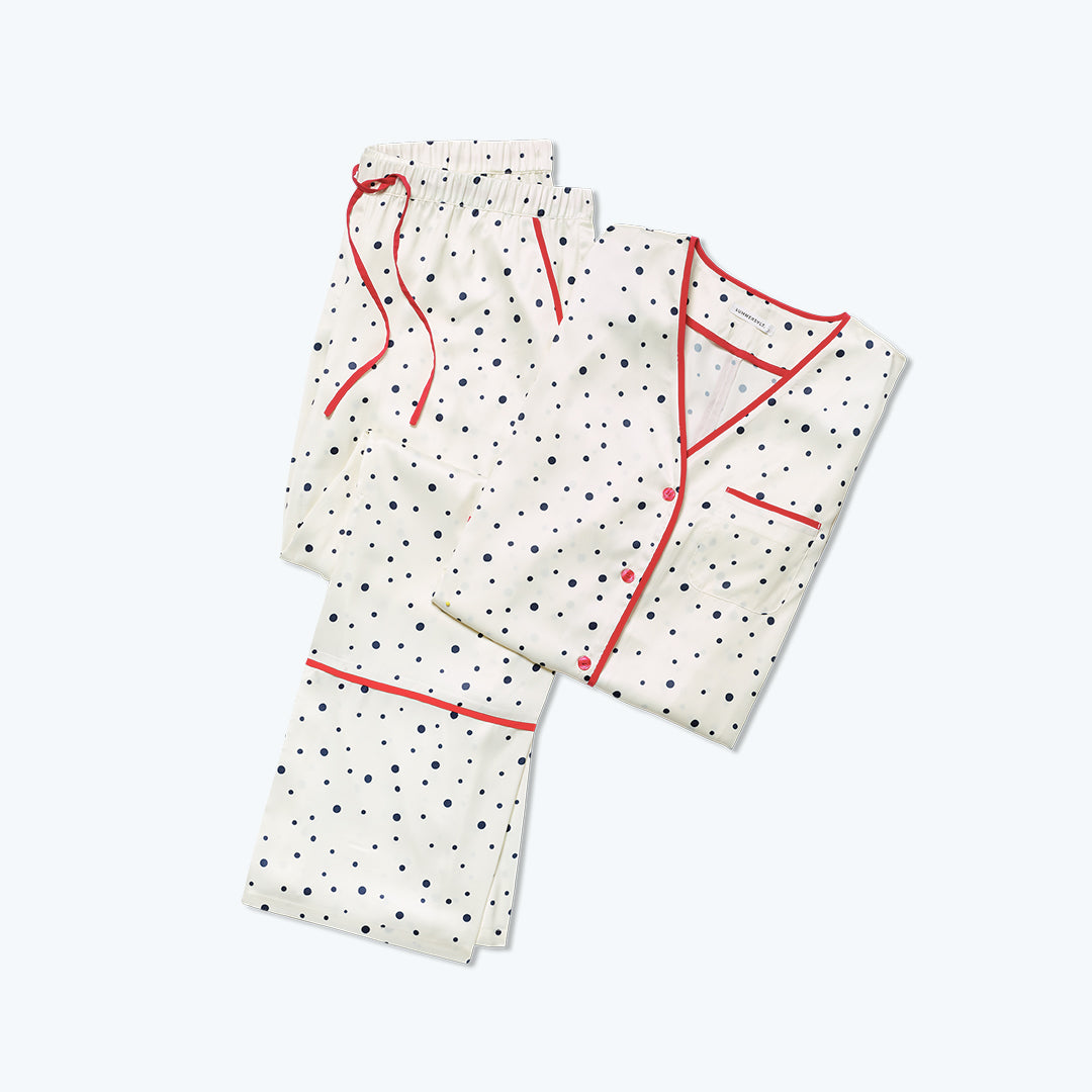 The Cloud 9 Silky PJ Set - Celestial Dot in White Sand