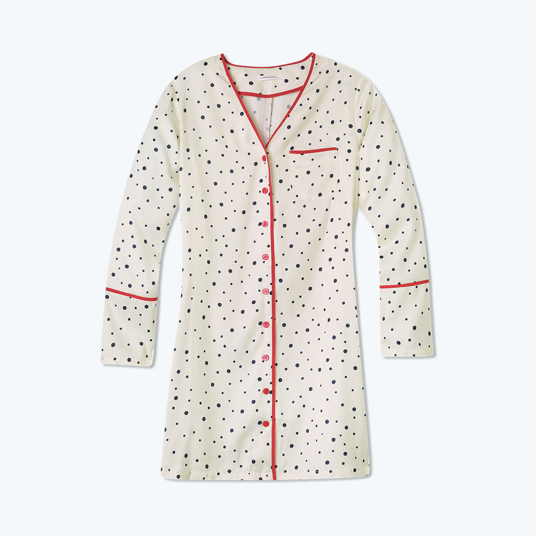 The Cloud 9 Boyfriend Sleep Shirt - Celestial Dot in White Sand