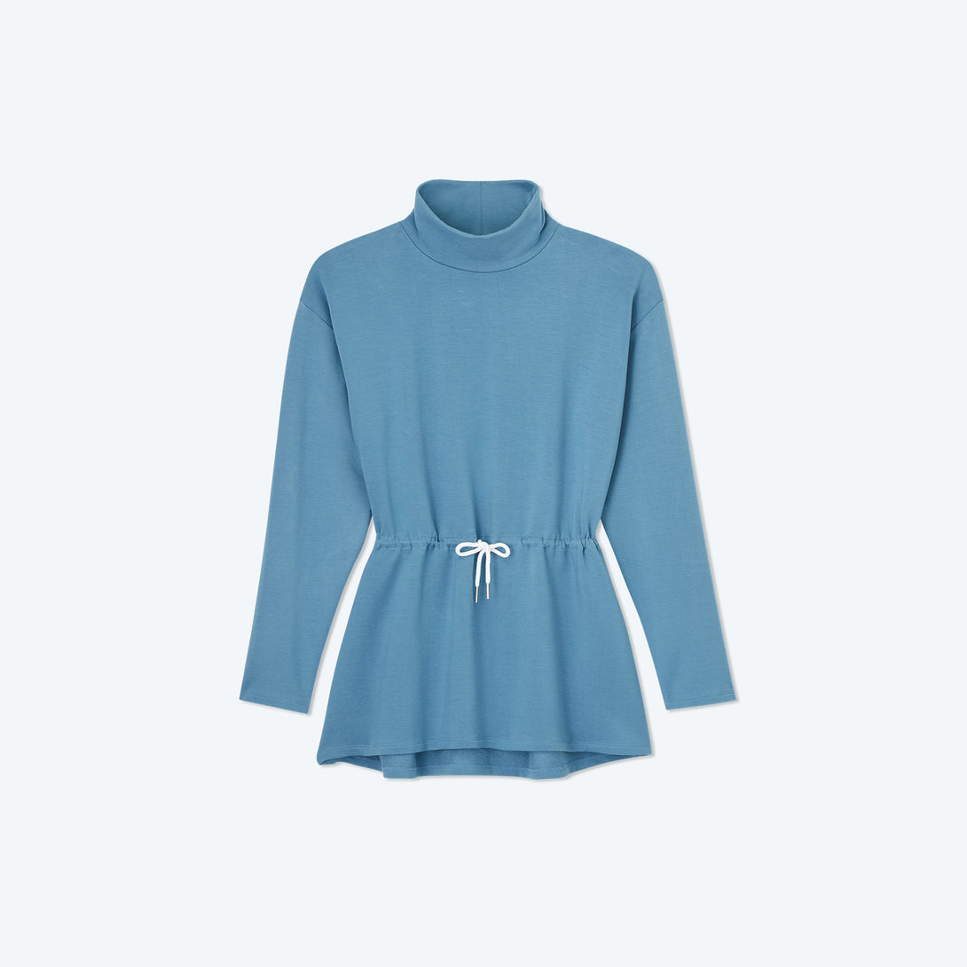 The Softest French Terry Cinched Waist Pullover - Blue Horizon