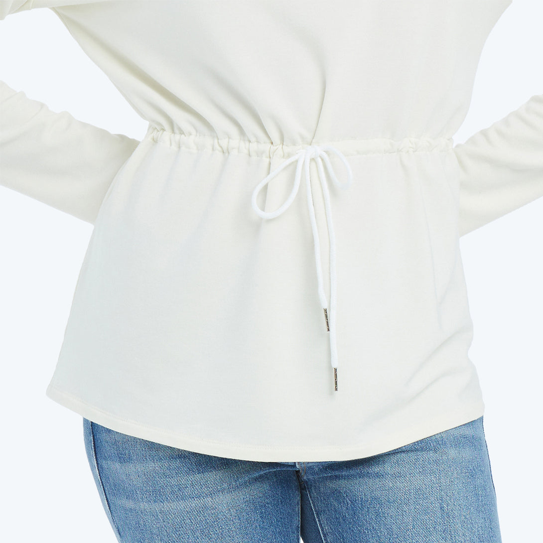 The Softest French Terry Cinched Waist Pullover - White Sand