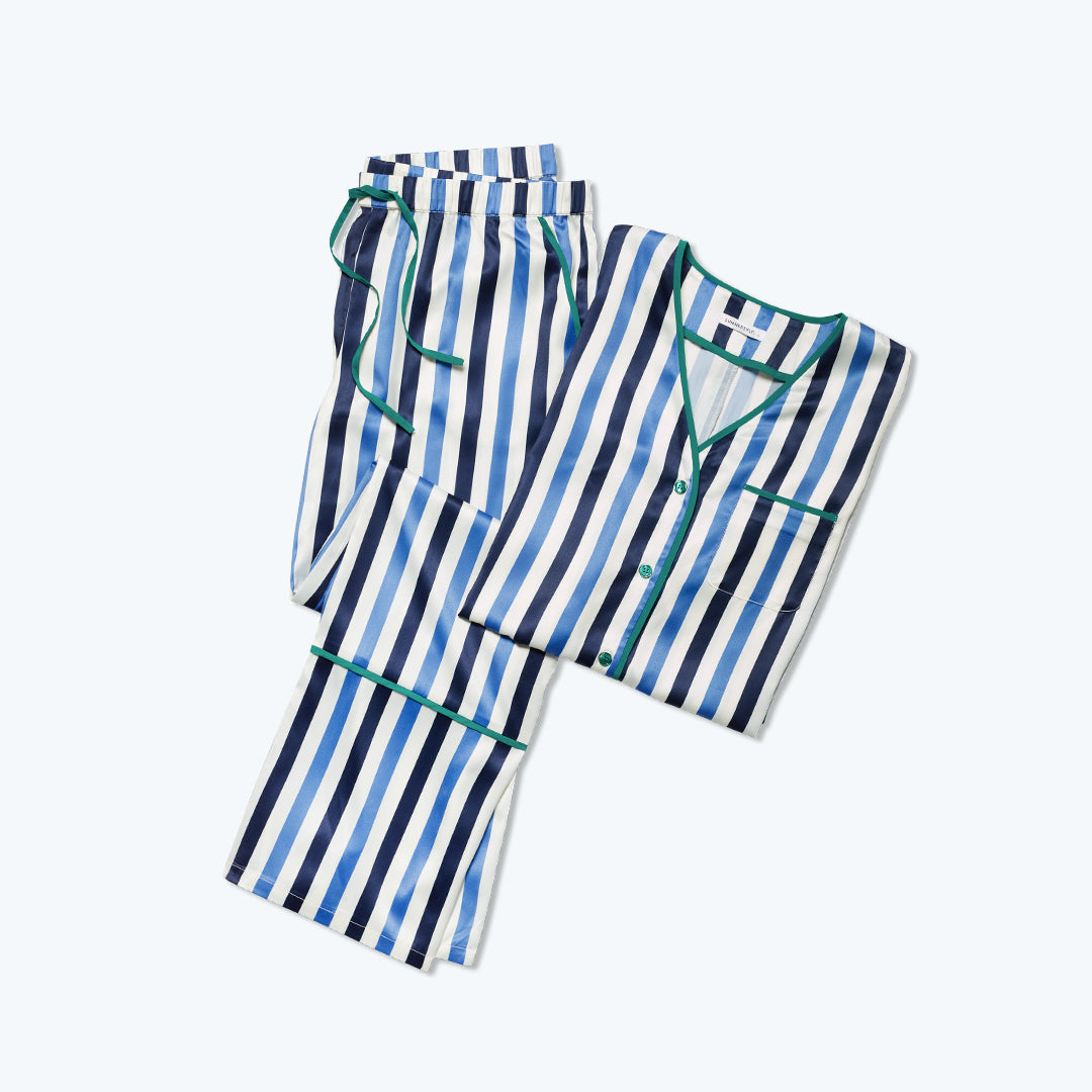 The Cloud 9 Silky PJ Set - Classic Stripe in Deep Sea and Indigo
