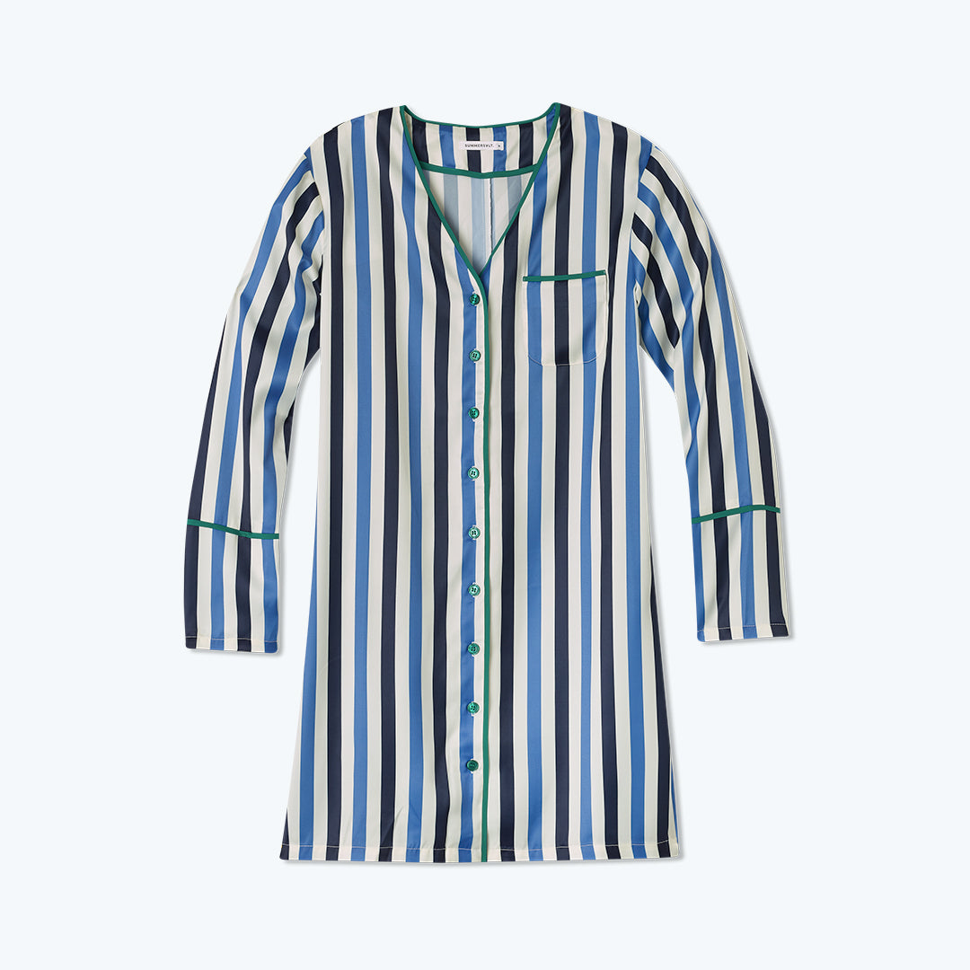The Cloud 9 Boyfriend Sleep Shirt - Classic Stripe in Deep Sea and Indigo