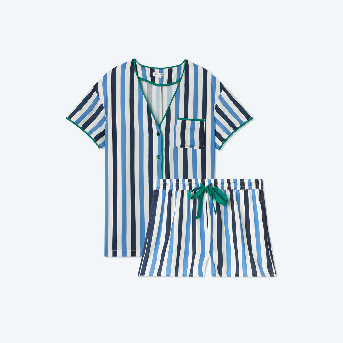 The Cloud 9 Silky PJ Shorts Set - Classic Stripe in Deep Sea & Indigo
