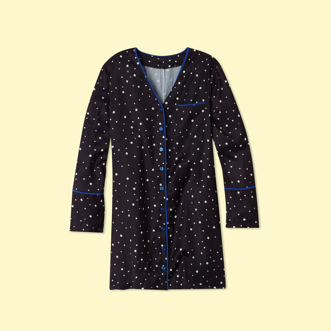 The Cloud 9 Silky Boyfriend Sleep Shirt - Celestial Dot