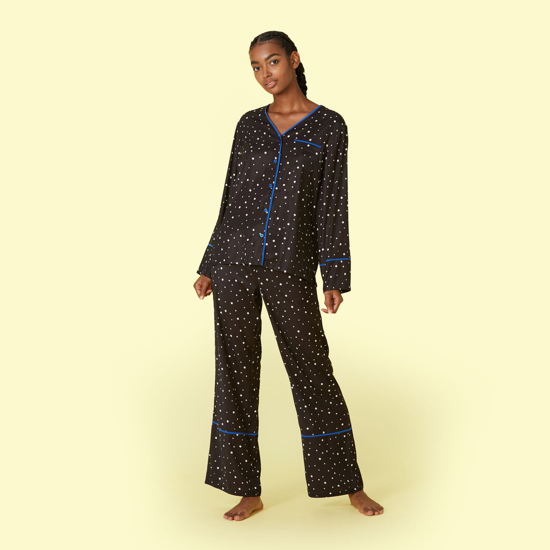 The Cloud 9 Silky PJ Set Celestial Dot Jordan
