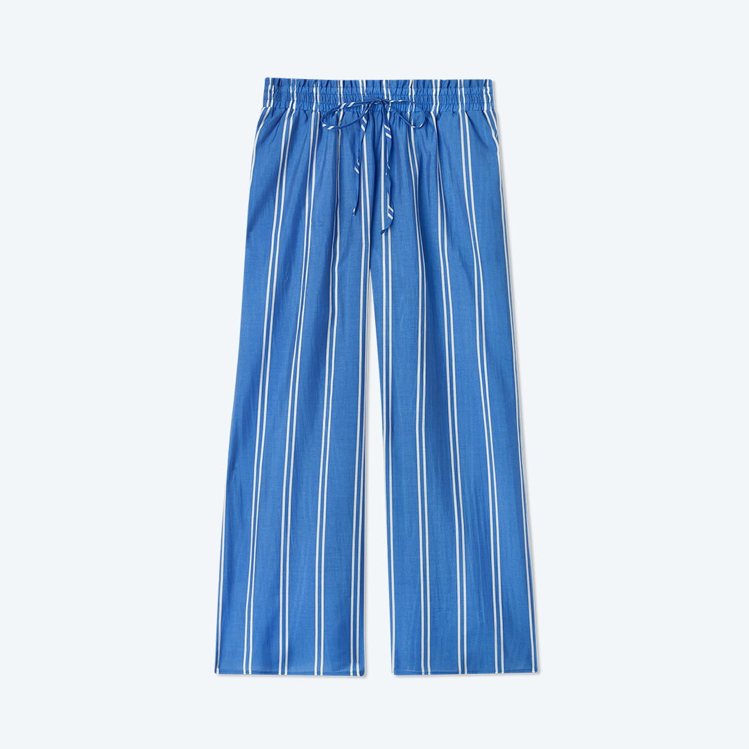 The Effortless Crop Wide Leg Pant - French Stripe in Indigo