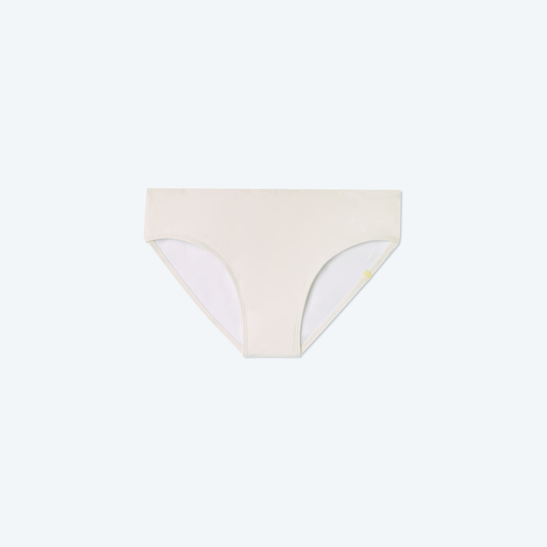The High Leg Mid Rise Bikini Bottom - White Sand