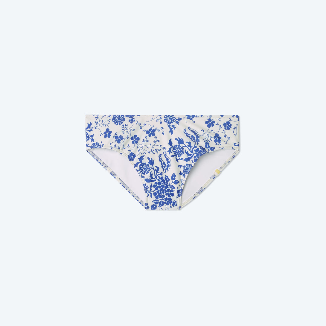 The Limited-Edition High Leg Mid Rise Bikini Bottom - Vintage Floral in Hydrangea