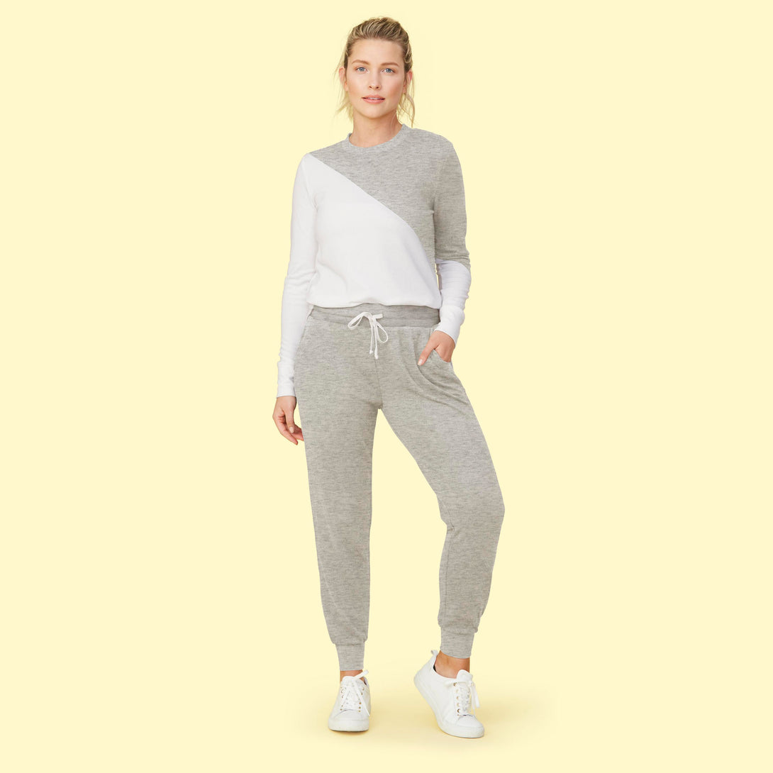 The Softest French Terry Jogger - Wolf & White Sand