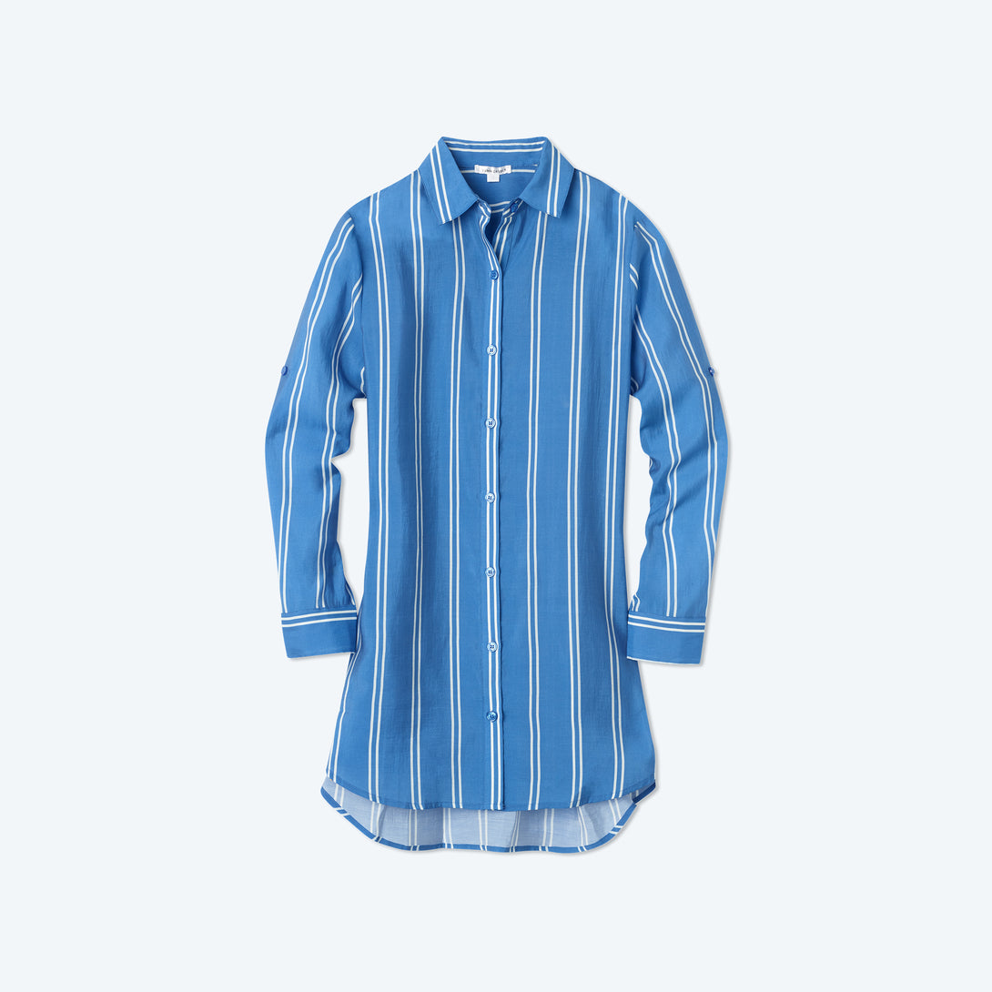 The All Buttoned Up Cover-Up - French Stripe in Indigo