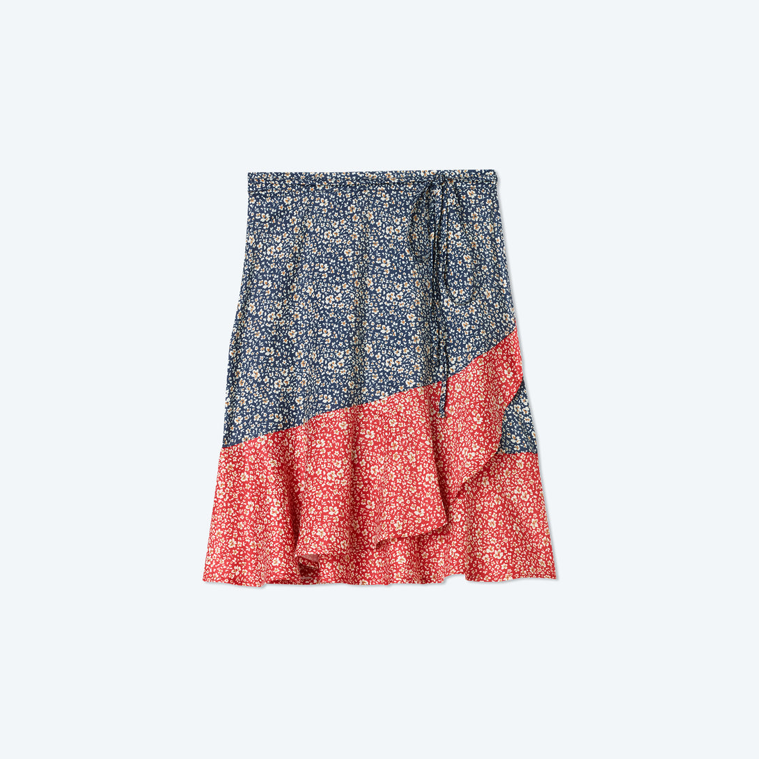 The Short Beach to Brunch Wrap Skirt - In Bloom in Deep Sea & Lava