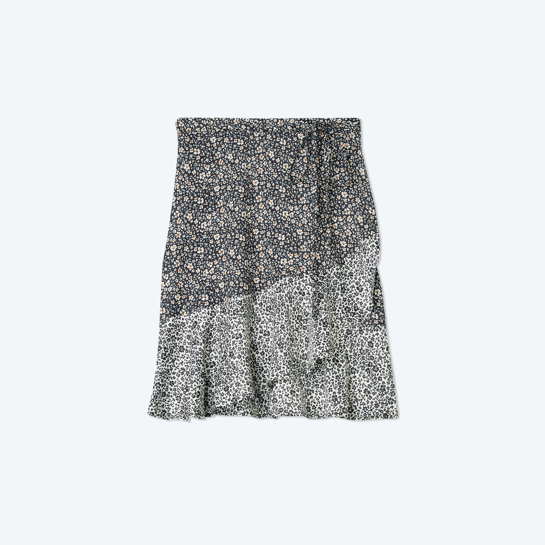 The Short Beach to Brunch Wrap Skirt - In Bloom in Sea Urchin