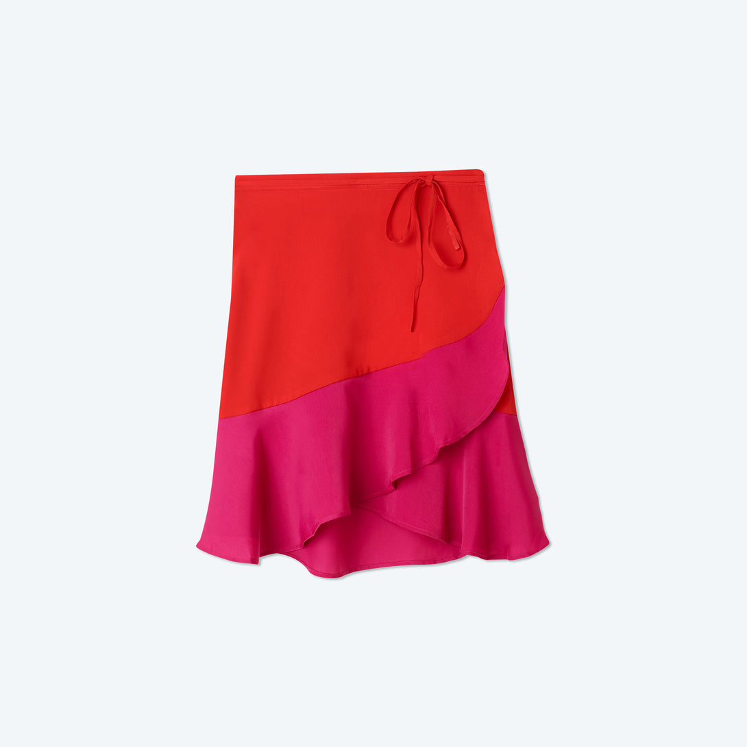 The Short Beach to Brunch Wrap Skirt - Lava & Hibiscus