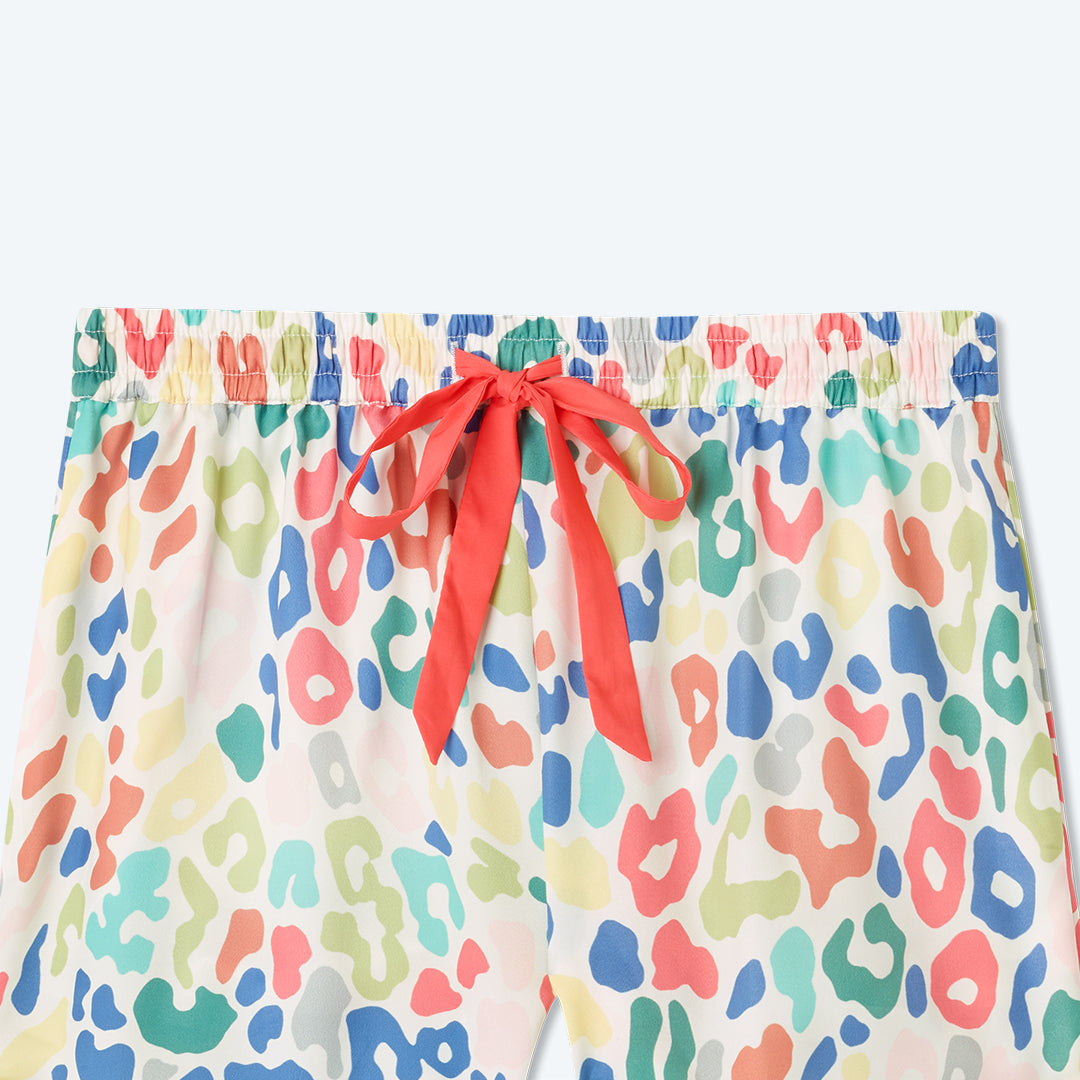The Cloud 9 Silky PJ Shorts Set - Rainbow Leopard