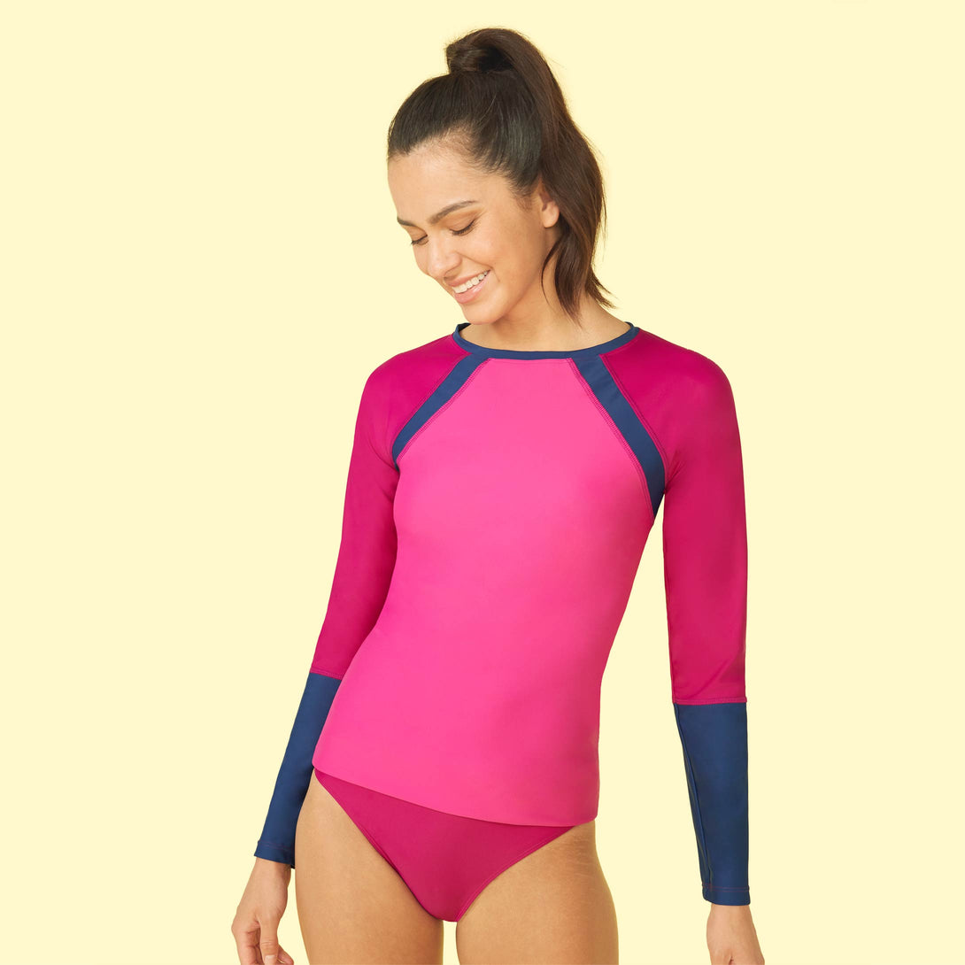 The Sun Shield Rash Guard Orchid and Hibiscus and Atlantic Dakota