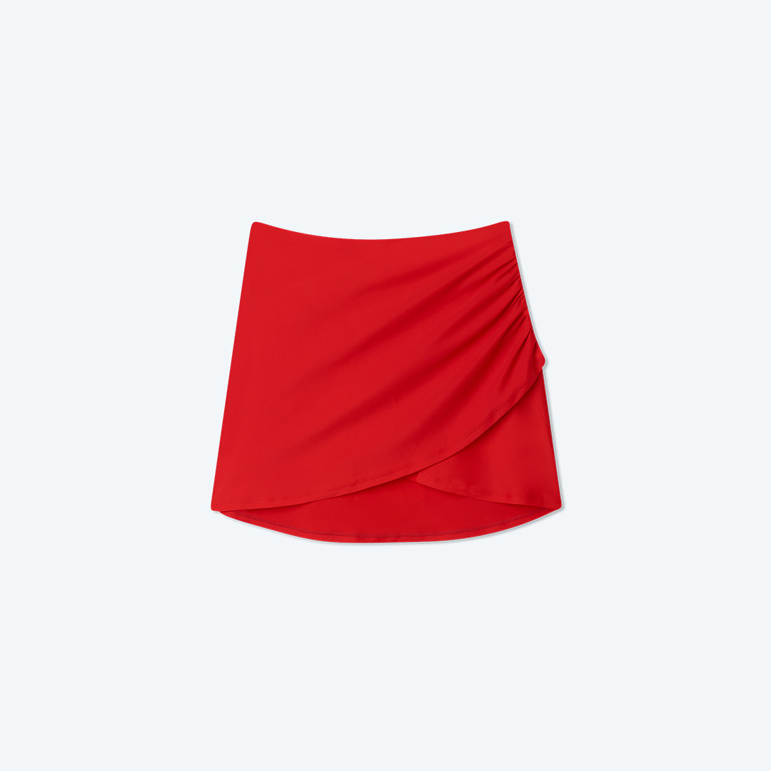 The Ruched Swim Skirt - Lava