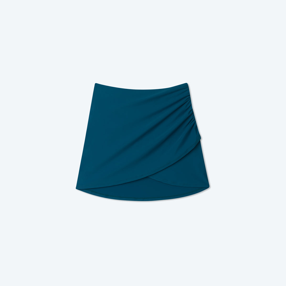 The Ruched Swim Skirt - Seaweed