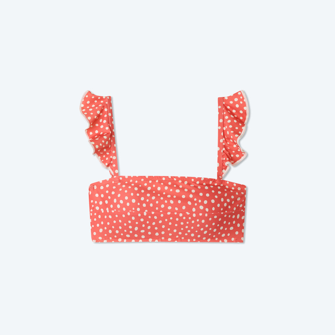 The Ruffle Oasis Bikini Top - On the Dot in Coral