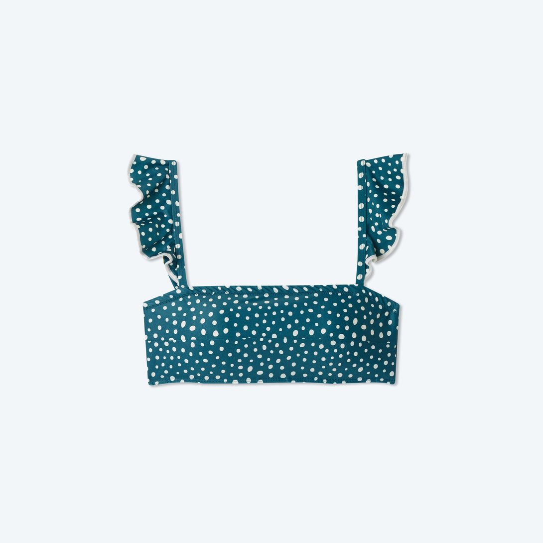 The Ruffle Oasis Bikini Top - On the Dot in Seaweed