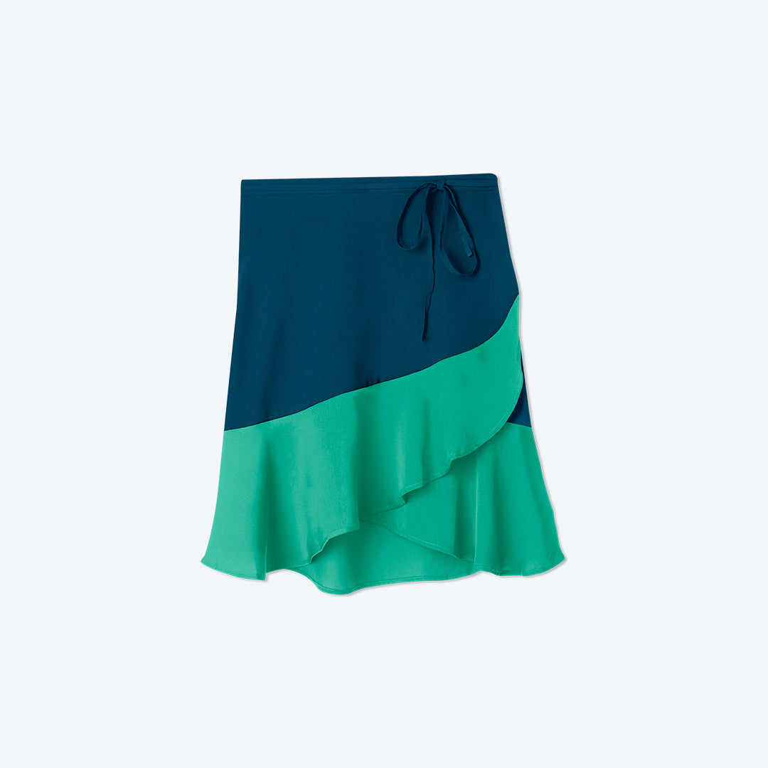 The Short Beach to Brunch Wrap Skirt - Seaglass & Seaweed
