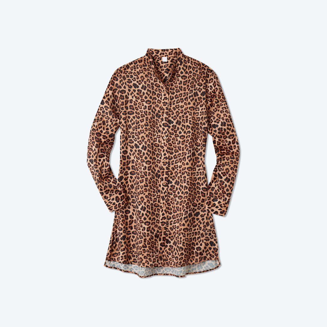 The Short Effortless Shirtdress Cover-Up - Leopard