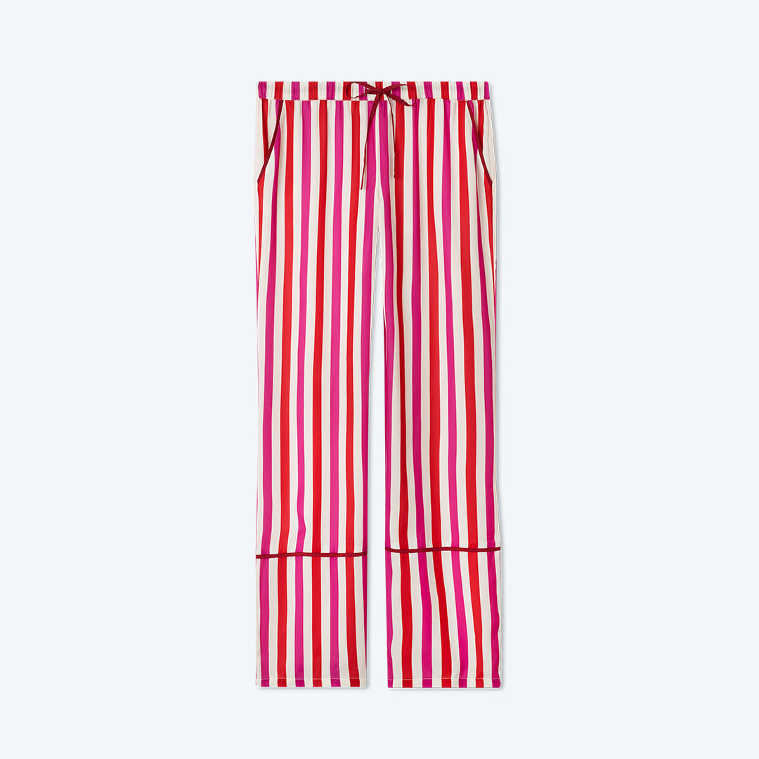 The Cloud 9 Silky PJ Set - Classic Stripe in Lava and Hibiscus