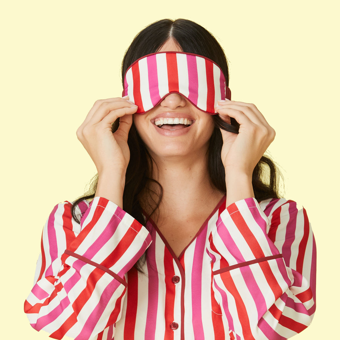 The Cloud 9 Silky Eye Mask - Classic Stripe in Lava & Hibiscus