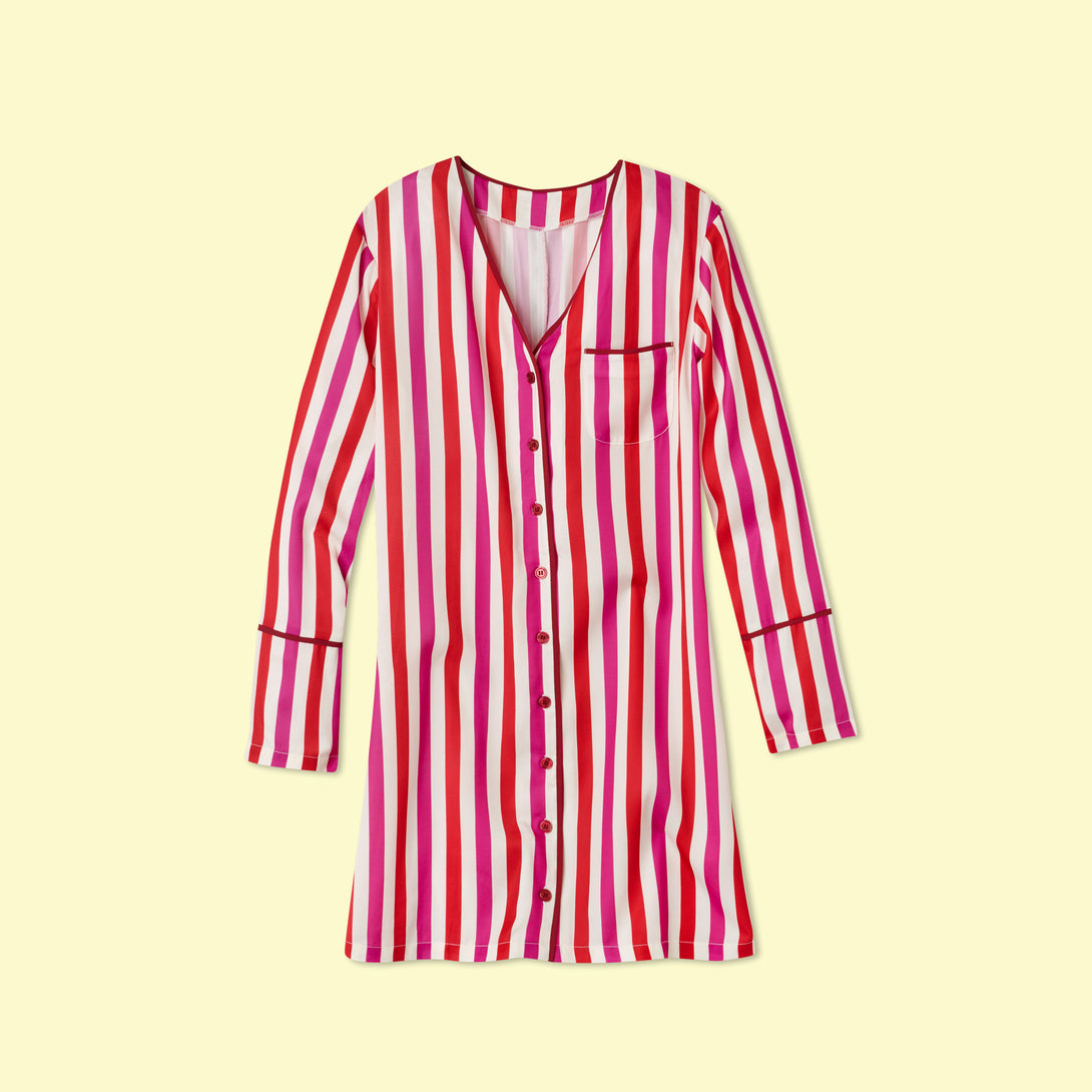 The Cloud 9 Boyfriend Sleep Shirt - Classic Stripe in Lava and Hibiscus