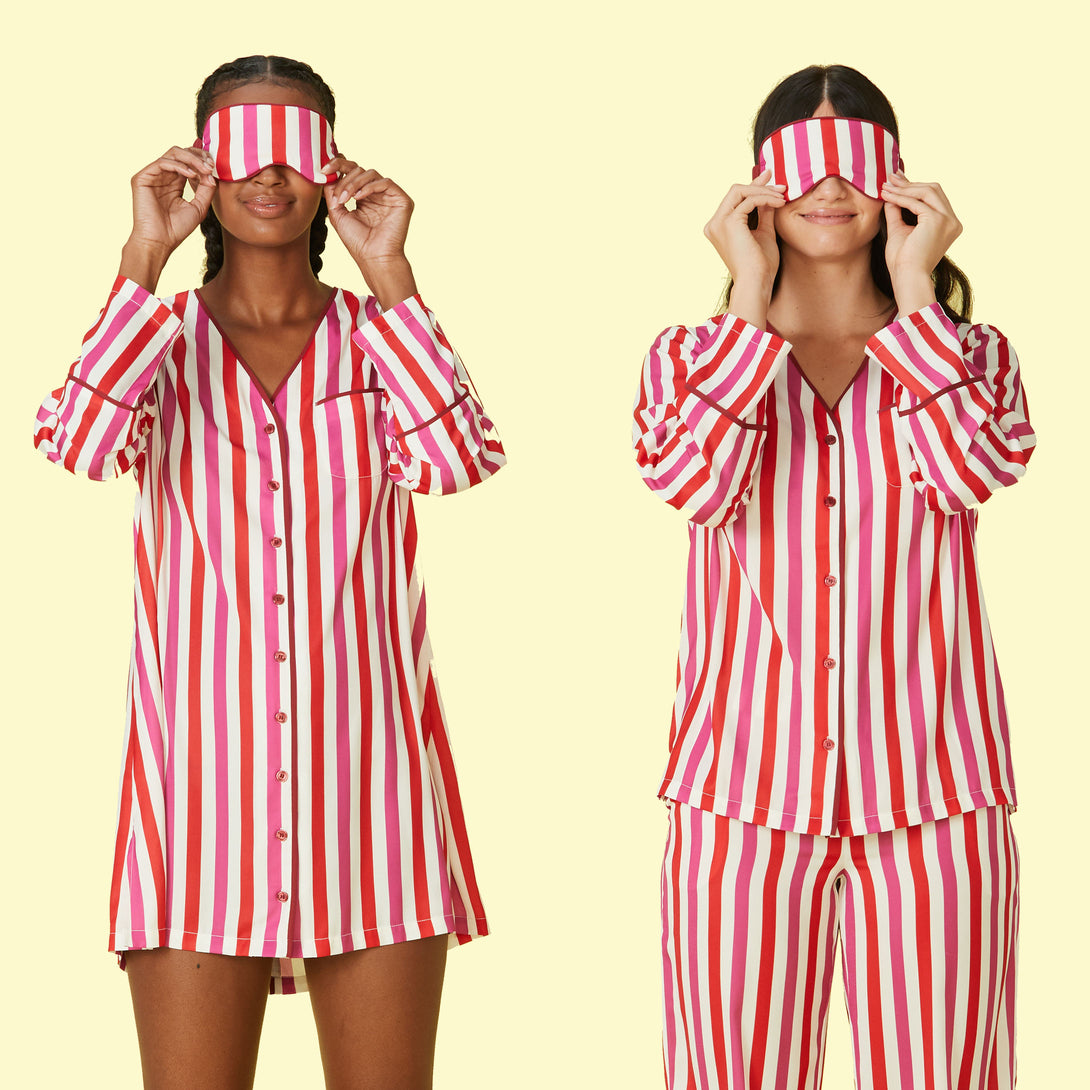 The Cloud 9 Silky PJ Dress Classic Stripe in Lava and Hibiscus
