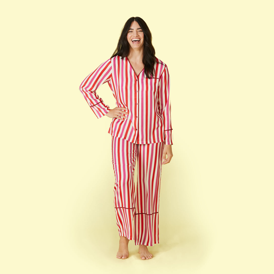 The Cloud 9 Silky PJ Set Classic Stripe in Lava and Hibiscus Ashley