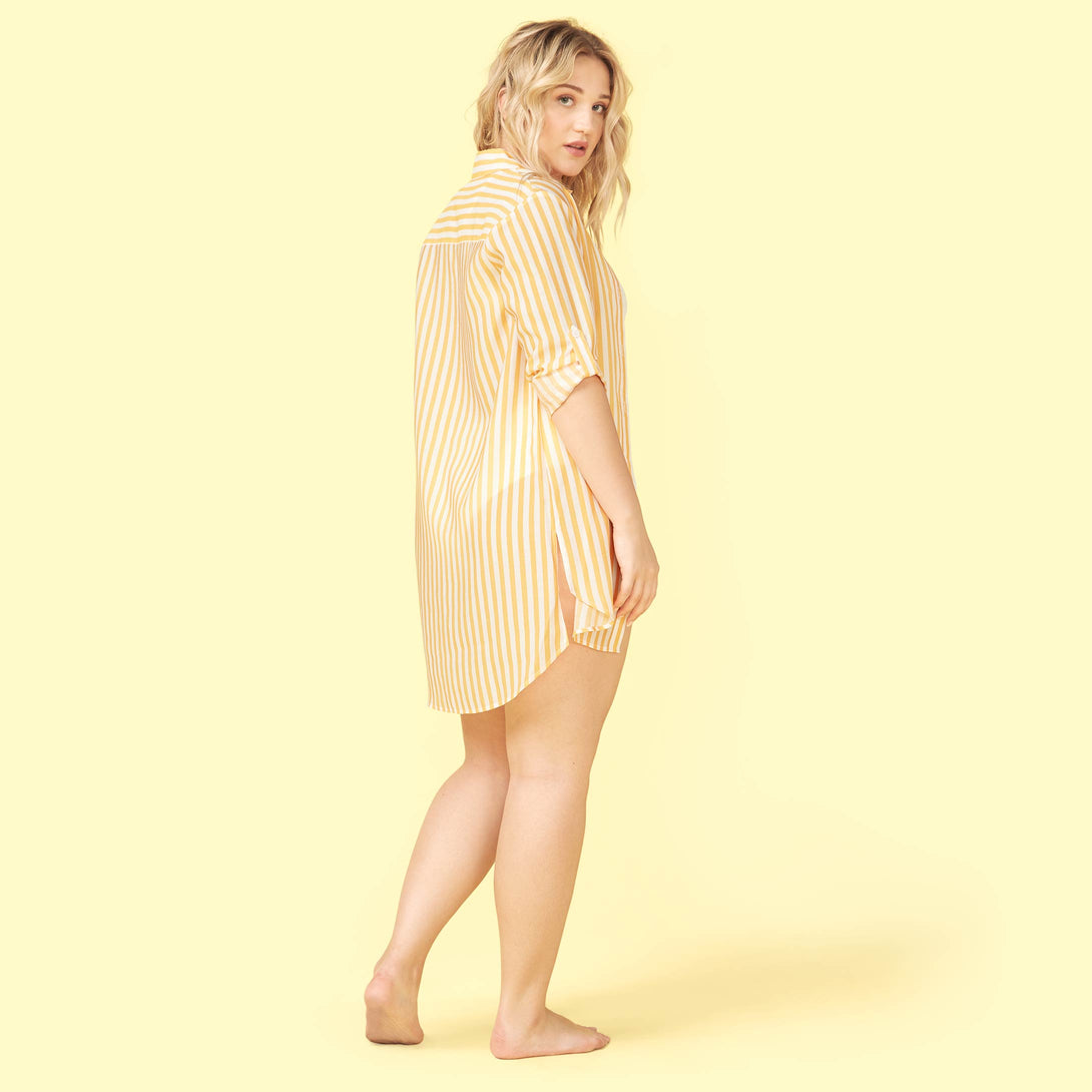 The All Buttoned Up Cover-Up Mango and White Sand Lynnea